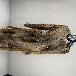100% Silk Lafayette Cheetah Print Dress